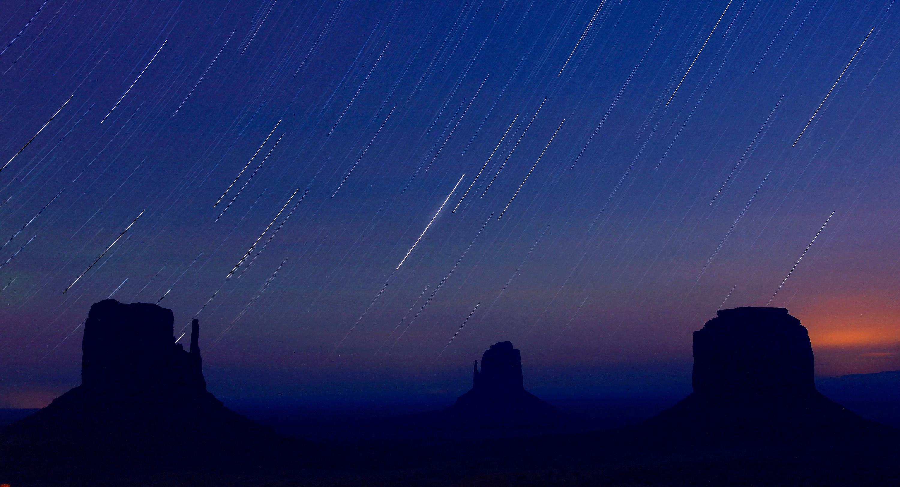 Star trails in the sky during Perseid meteor shower