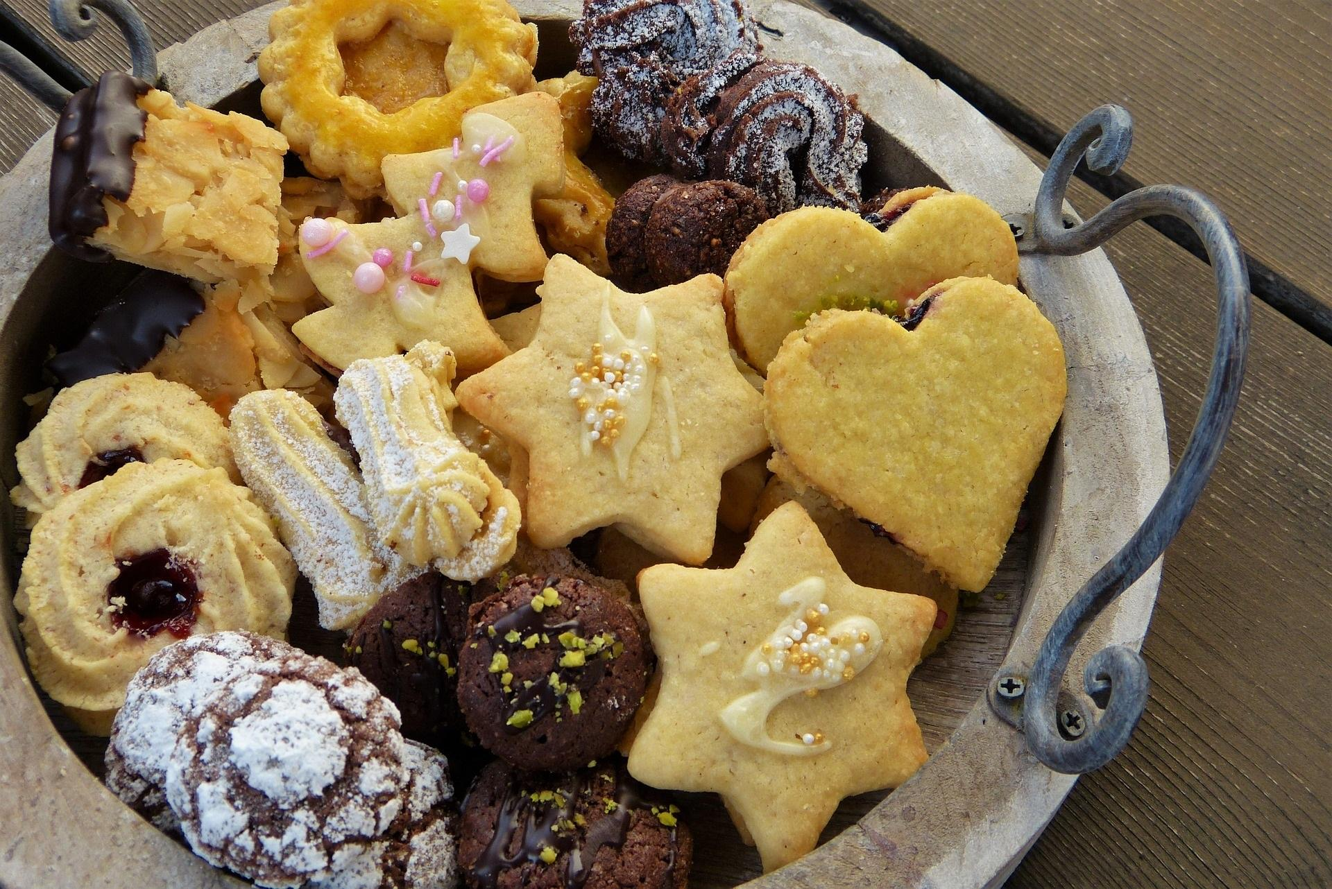 cookie assortment arranged on a serving platter