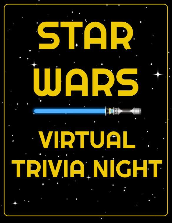 "Black background with stars with text ""Star Wars Virtual Trivia Night"""