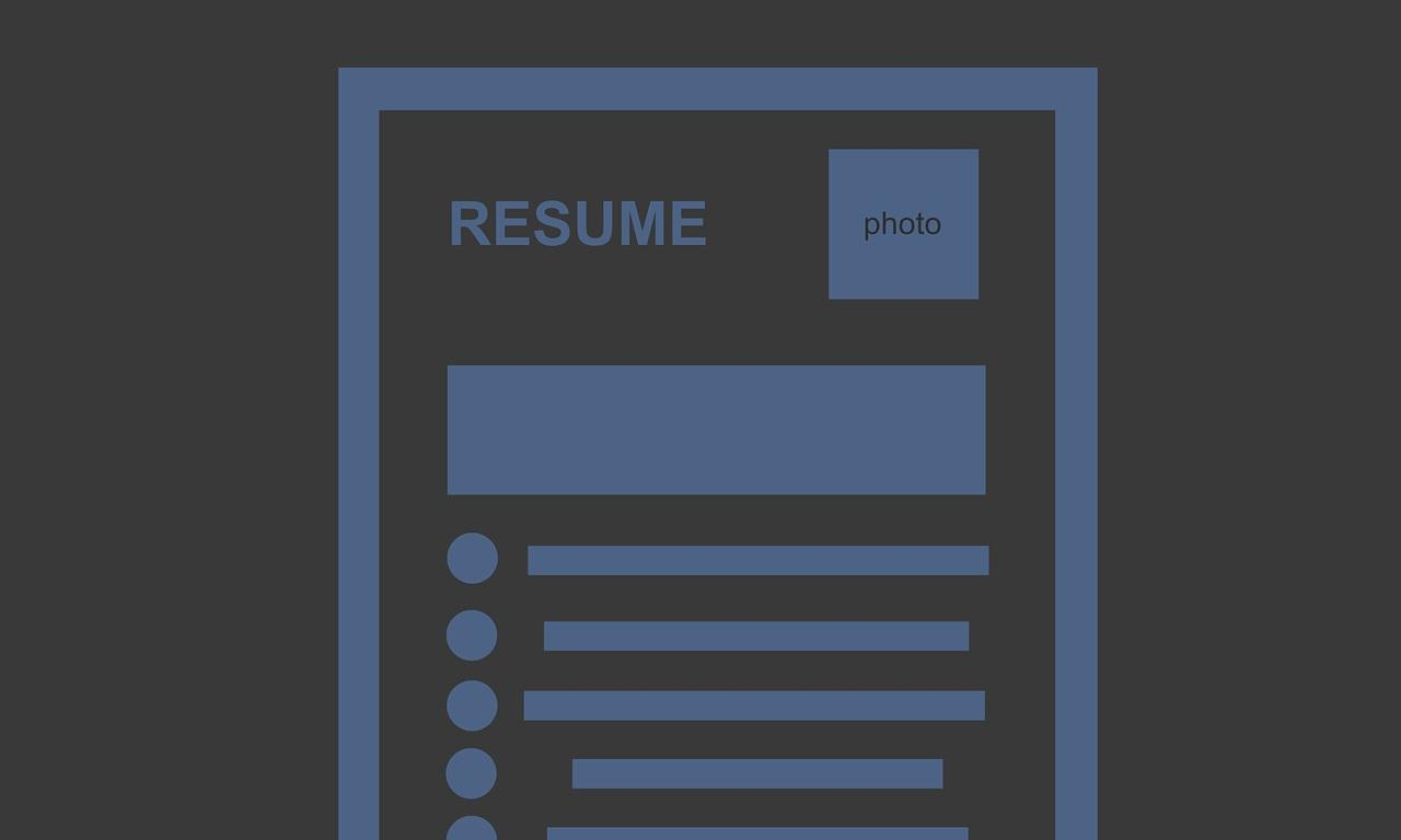 Drawing of a resume with a black background and blue text
